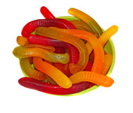 Multicolored Chewing marmalade as worms isolated Royalty Free Stock Images