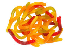 Multicolored Chewing marmalade as worms isolated Stock Image