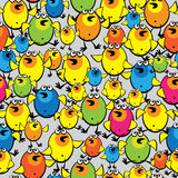 Multicolored chickens on seamless pattern Royalty Free Stock Photos