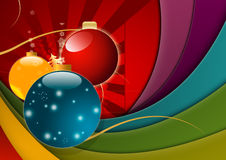 Multicolored Christmas Background. A multicolored Christmas background with balls and ribbons Stock Photo
