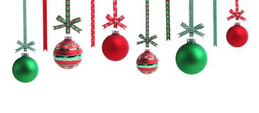 Multicolored christmas ball with ribbon bow Royalty Free Stock Photos