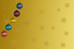 Multicolored Christmas balls on a gold background Stock Image