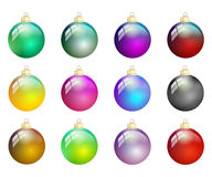 Multicolored christmas balls isolated Royalty Free Stock Photo