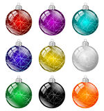 Multicolored christmas balls isolated Stock Photo