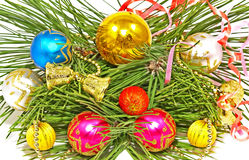 Multicolored Christmas balls and pine branch. Royalty Free Stock Photos