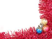 Multicolored christmas balls and red decoration. Royalty Free Stock Images