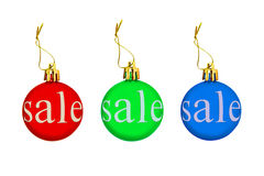 Multicolored Christmas balls with sale tag.Isolated. Royalty Free Stock Images