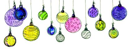 Christmas balls. watercolor, isolate. Multicolored christmas balls. Seamless garland. On a white background Stock Photos