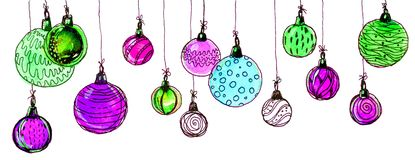 Christmas balls. watercolor, isolate. Multicolored christmas balls. Seamless garland. On a white background Royalty Free Stock Image