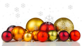 Multicolored christmas balls on white background Royalty Free Stock Image
