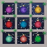 Multicolored Christmas baubles Stock Image