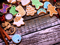 Multicolored Christmas cookies serve as a background. Royalty Free Stock Images