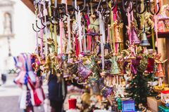 Multicolored Christmas decorations in Budapest Christmas market royalty free stock photos