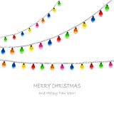 Multicolored Christmas lights Stock Images