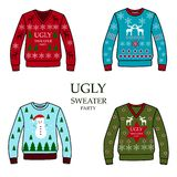 Multicolored christmas party sweaters, royalty free illustration