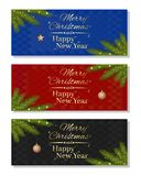 Multicolored christmassy backgrounds set Stock Photos