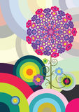 Multicolored circles. Colorful background with vegetation elements stock illustration