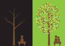 Multicolored circles tree with people Royalty Free Stock Image