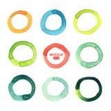 Multicolored cirkels die in waterverf worden geschilderd stock illustratie