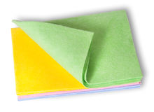 Multicolored cleaning cloths folded on top Royalty Free Stock Image