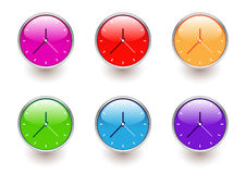 Multicolored clocks Stock Photography