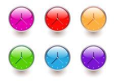 Multicolored clocks. Vector illustration of multicolored clock icons Stock Photography