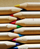 Multicolored. Cloes-up of wooden colored pencils Stock Images