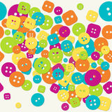 Multicolored cloth buttons pattern Stock Image