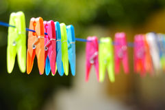 Multicolored clothes pin. On rope Royalty Free Stock Photography