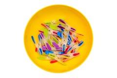 Multicolored clothespins. stock photo