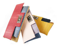 Multicolored clutch bags Stock Images