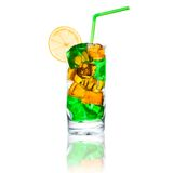 Multicolored cocktail with ice Stock Photography