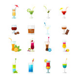 Multicolored cocktail icons set Stock Photography