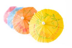 Multicolored Cocktail Umbrellas Stock Photos