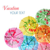 Multicolored Cocktail Umbrellas. Vacation and summer symbol, isolated. On white background stock images