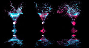 Multicolored cocktails in glasses Stock Image