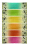 Multicolored coconut paper banners. Multicolored coconut paper banner set isolated with clipping path Stock Image
