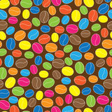 Multicolored coffee beans seamless pattern Royalty Free Stock Image