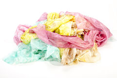 Multicolored Collection of Crumpled Habotai Silk Scarves Royalty Free Stock Photos