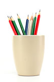 Multicolored color pencils in a coffee cup Stock Photo