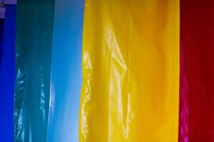 Multicolored colored bright motley rolls of plastic film. Chemical production, high-pressure polyethylene stock image