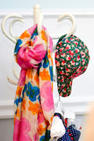 Multicolored colorful scarf and cap Royalty Free Stock Image