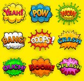Multicolored comic speech bubbles sound effects. Vector Stock Photo
