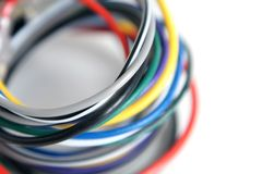 Multicolored computer cable. On white background Stock Photography