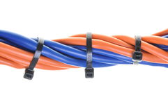 Multicolored computer cable with cable ties Stock Photography