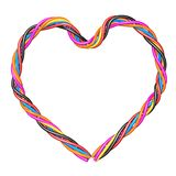Multicolored computer cable heart Stock Image