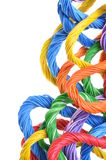 Multicolored computer cables. Bundles isolated on white background Royalty Free Stock Images
