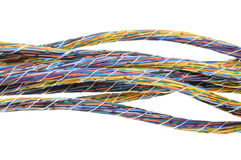 Multicolored computer cables bundles Stock Photography