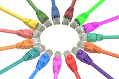 Multicolored computer network cables, 3D rendering Stock Image