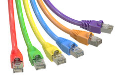 Multicolored computer network cables Royalty Free Stock Photo